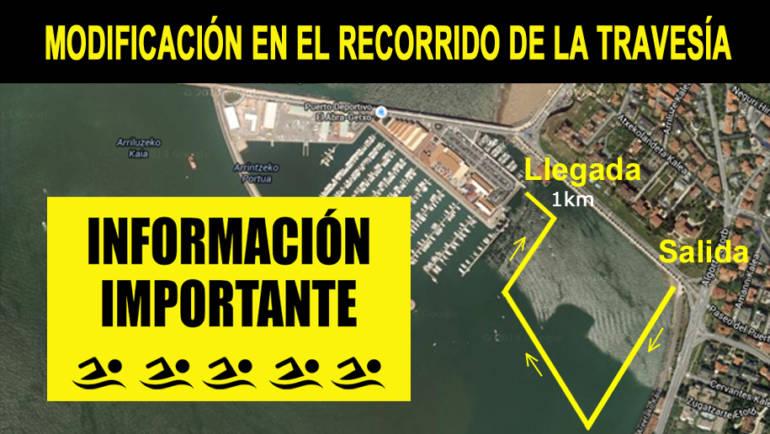Modificación en el recorrido de la IV Travesia Puerto Deportivo el Abra – Getxo